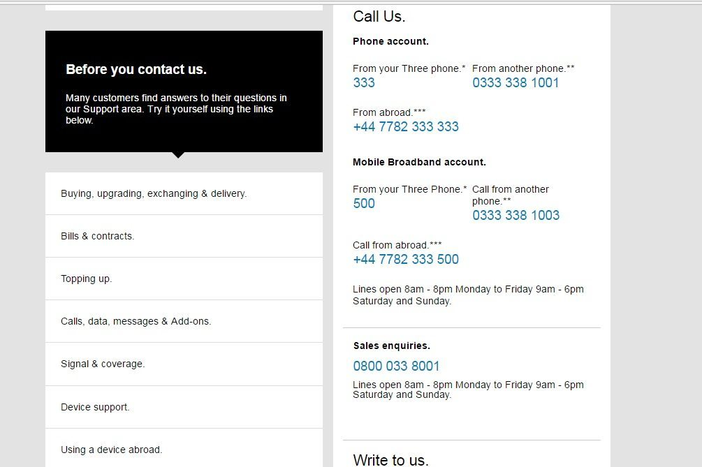 3 mobile Customer Service