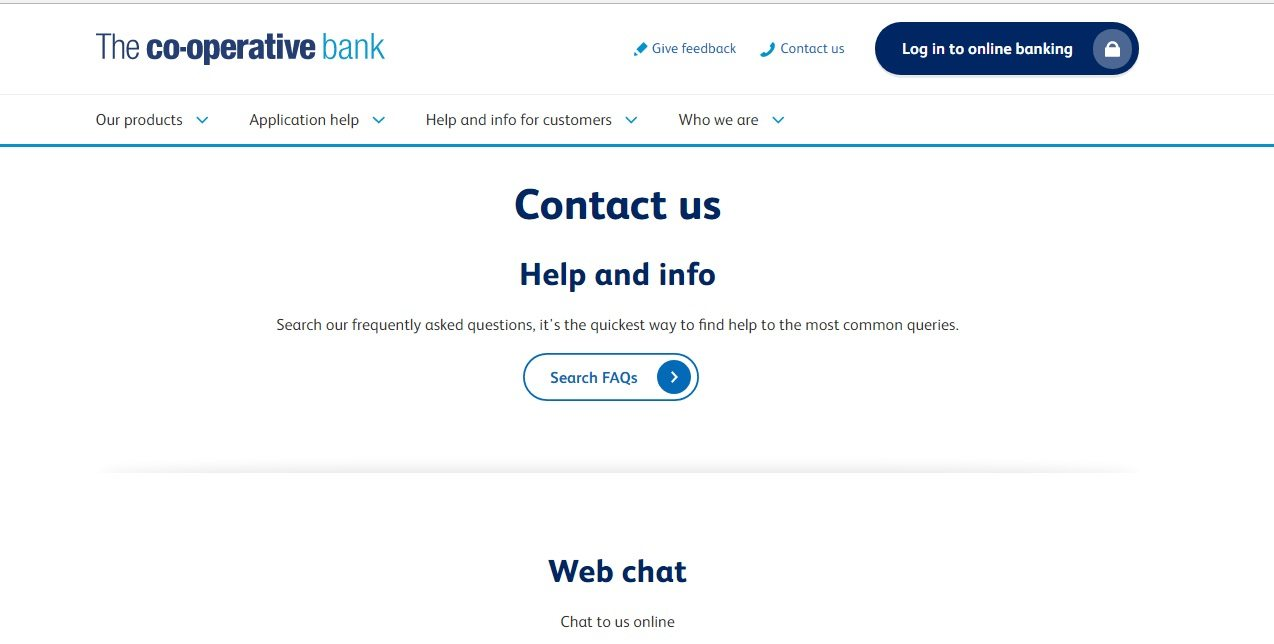 Co-operative Bank Customer Service number