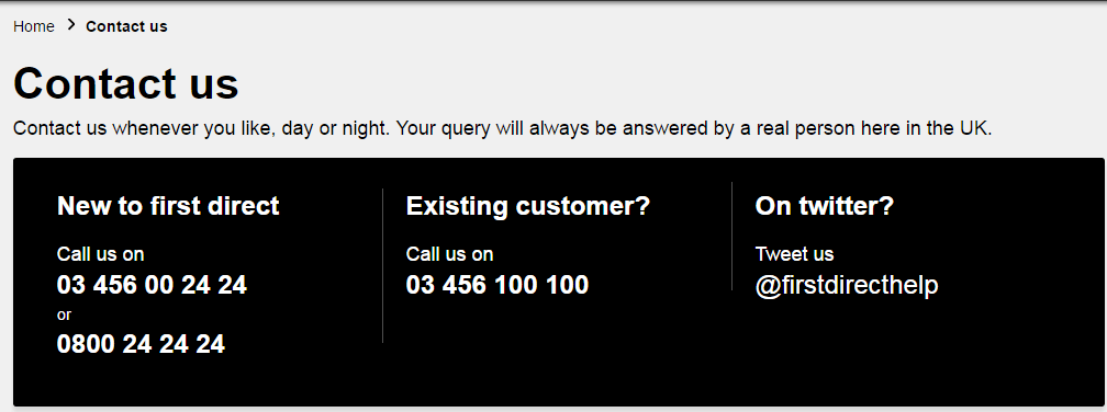 First Direct Customer Service Numbers