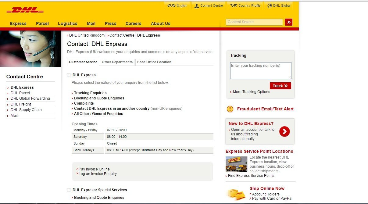 DHL customer service number
