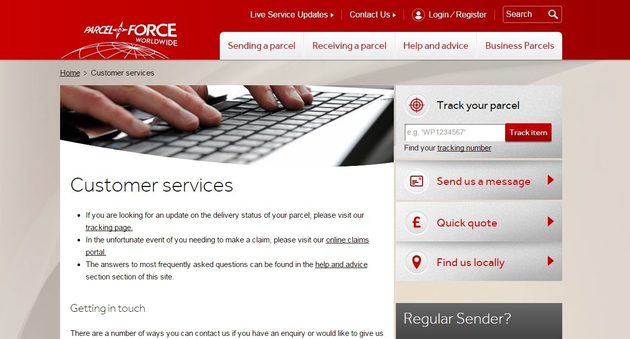 Parcelforce customer service phone number