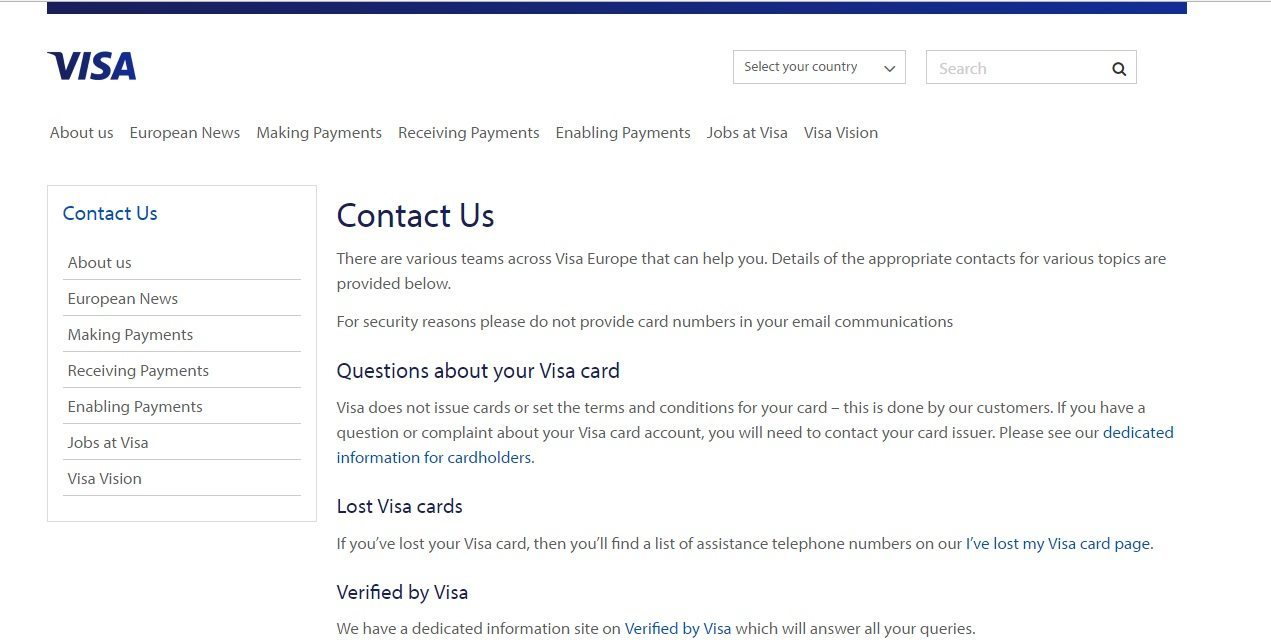 About Visa Customer Service