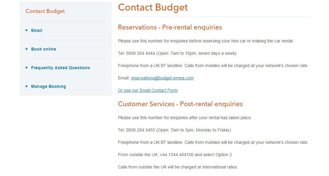Budget Customer Service number
