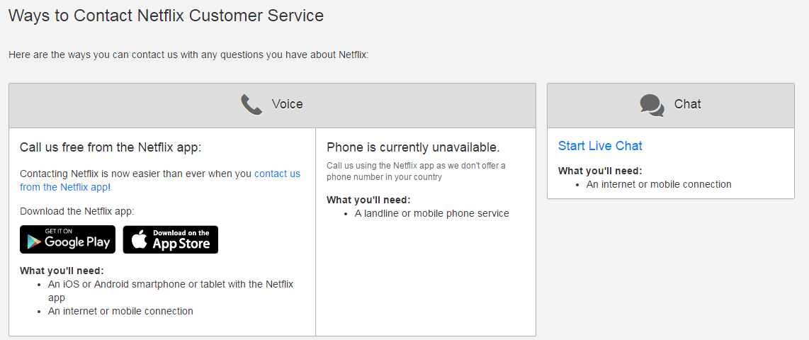Netflix customer services