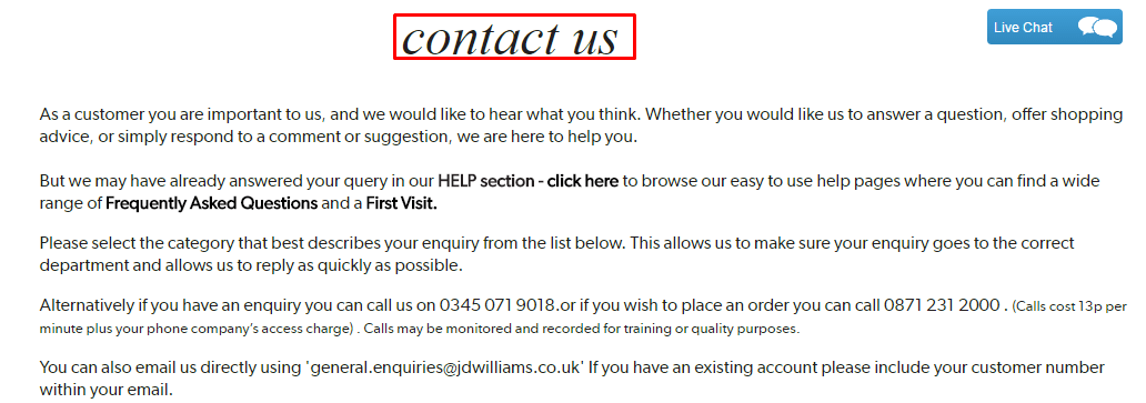 JD Williams contact number UK