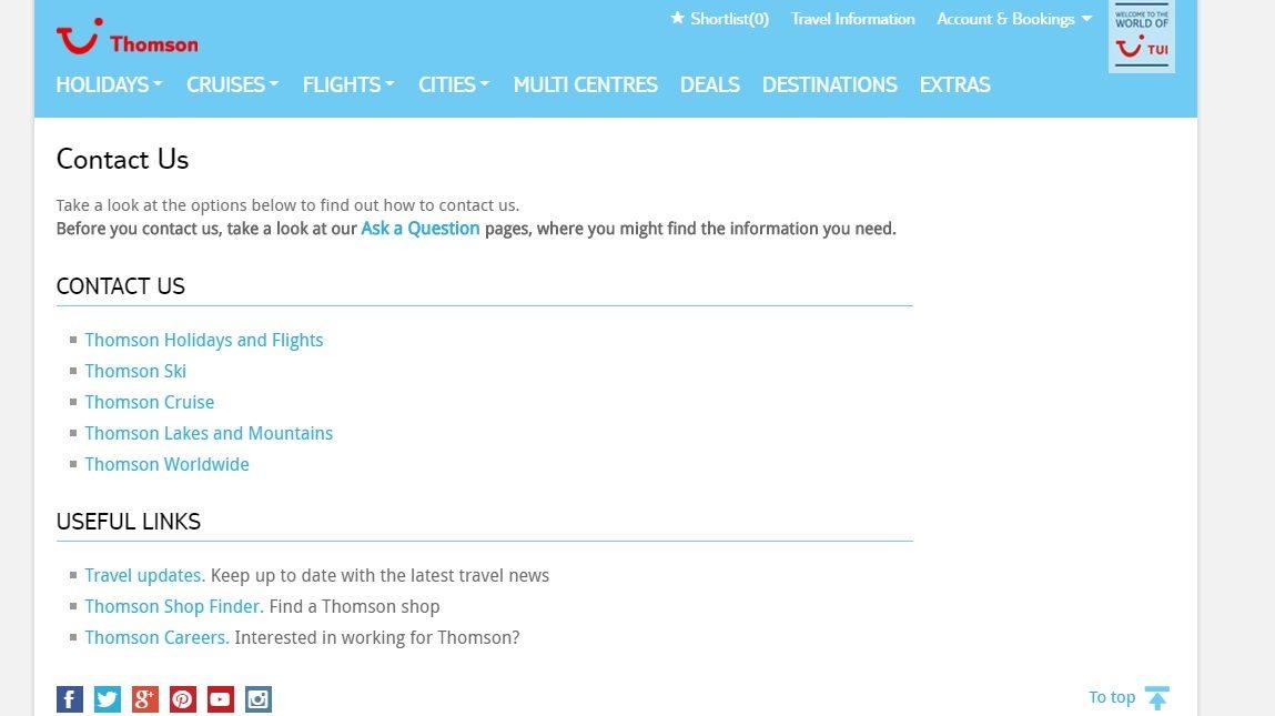 Thomson holidays helpline number